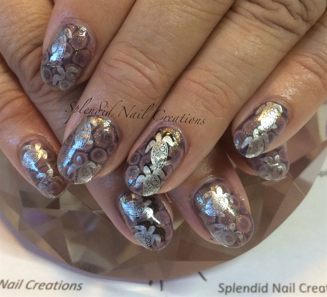 Day 104: Sea Turtle and Abstract Glitter Nail Art - - NAILS Magazine