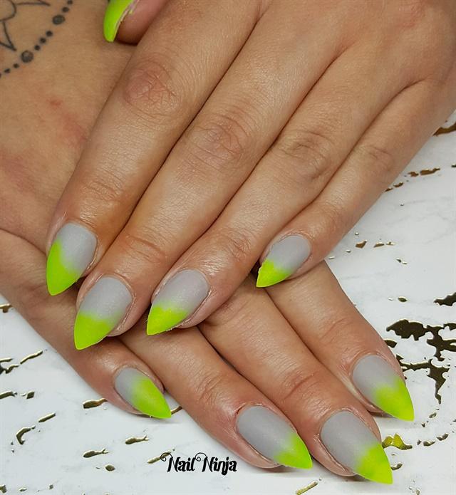 Day 119 Neon Green And Purple Glitter Nail Art Nails Magazine