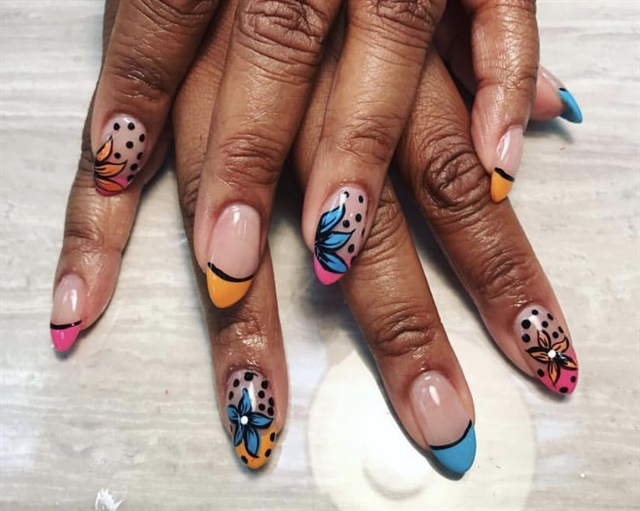 Day 120: Tropical Flower French Nail Art - - NAILS Magazine