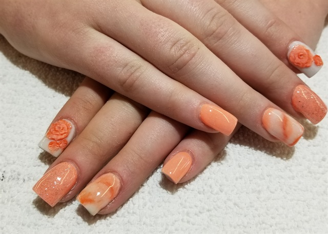Day 140 Orange Flower Nail Art Nails Magazine