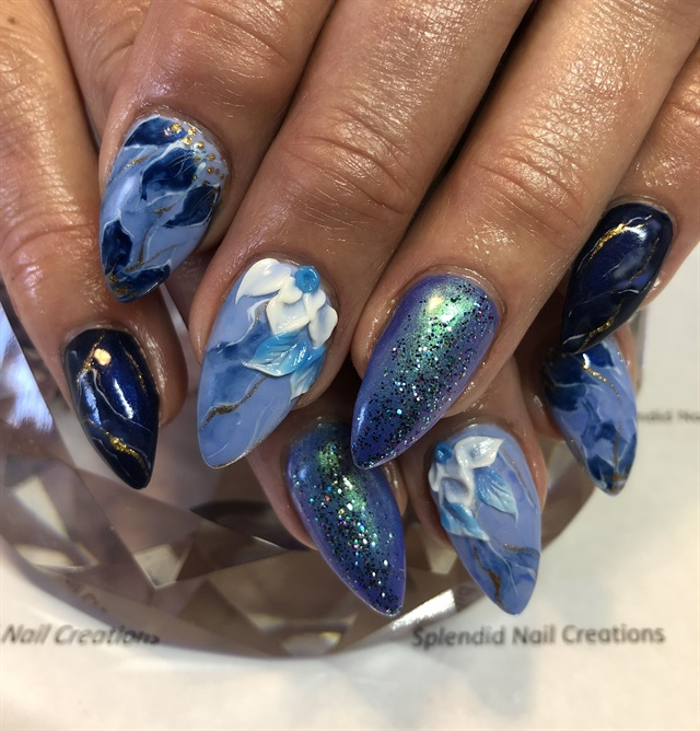 Day 144 Blue And Gold Floral Nail Art Nails Magazine