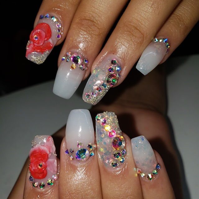 Day 163 Flowery And Embellished Prom Nail Art Nails Magazine