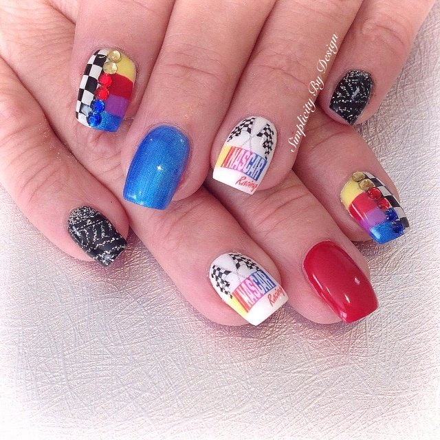 Delee Dennison, Simplicity By Design, Terrace, British Columbia, Canada - Day 179: Nascar Nail Art - - NAILS Magazine