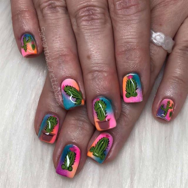 Day 211: Cactus Summer Nail Art - - NAILS Magazine