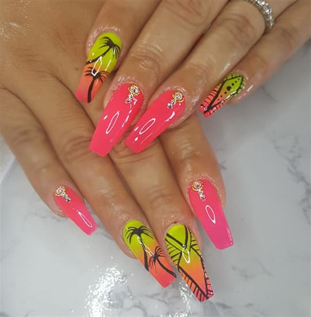 Day 219: Tropical Jewel Nail Art - - NAILS Magazine