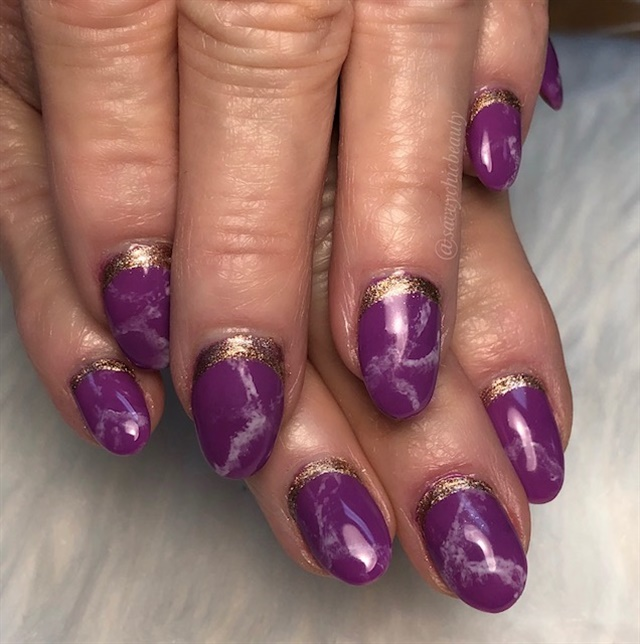 Day 220 Summer Marble And Leaf Nail Art Nails Magazine