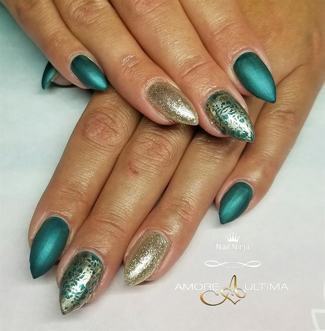 Day 222: Deco Drip and Ocean Marble Nail Art - - NAILS Magazine