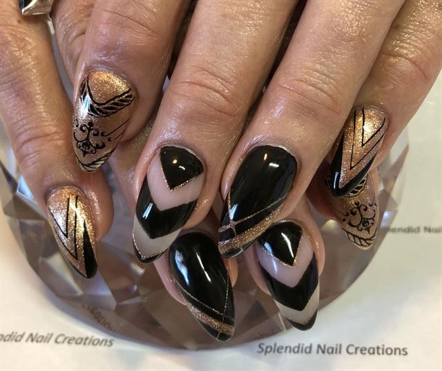 Day 246 Elegant Black And Gold Nail Art Nails Magazine