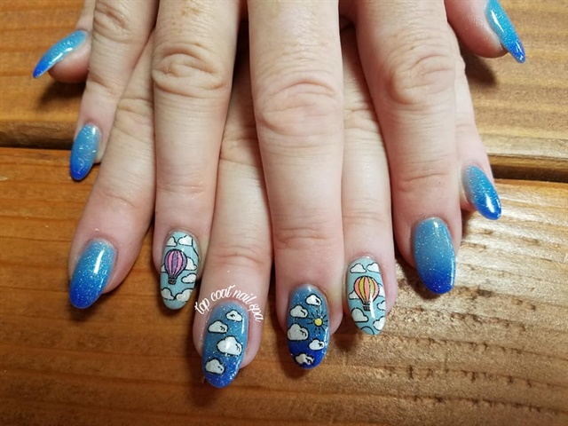 Day 247 Clouds And Hot Air Balloons Nail Art Nails Magazine