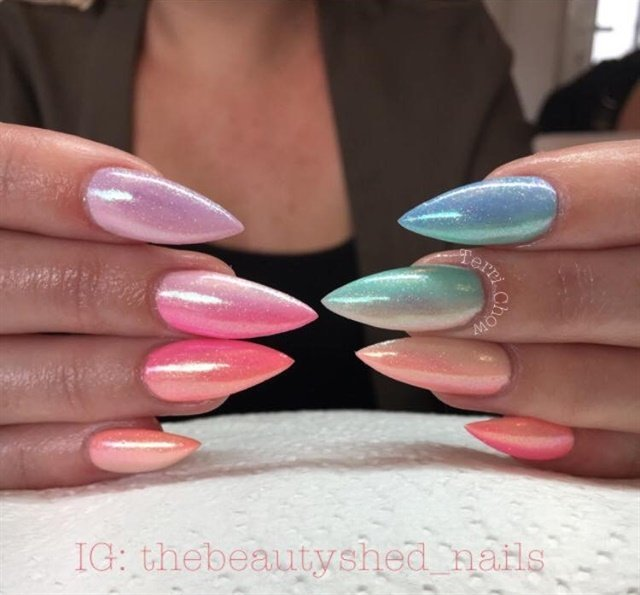 Day 74 Abstract French Nail Art: Day 265: Colorful Ombre Stiletto Nail Art