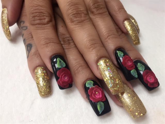 Day 266 Roses And Gold Nail Art Nails Magazine