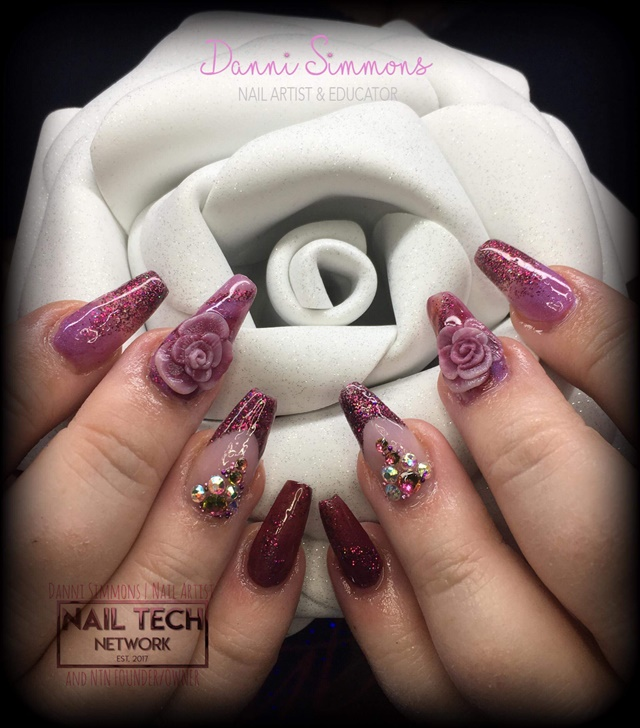 Day 272 3 D Rose And Embedded Glitter Nail Art Nails Magazine