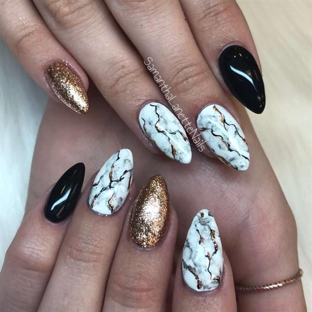 Marble Nail Art: Day 316: Golden Marble Nail Art