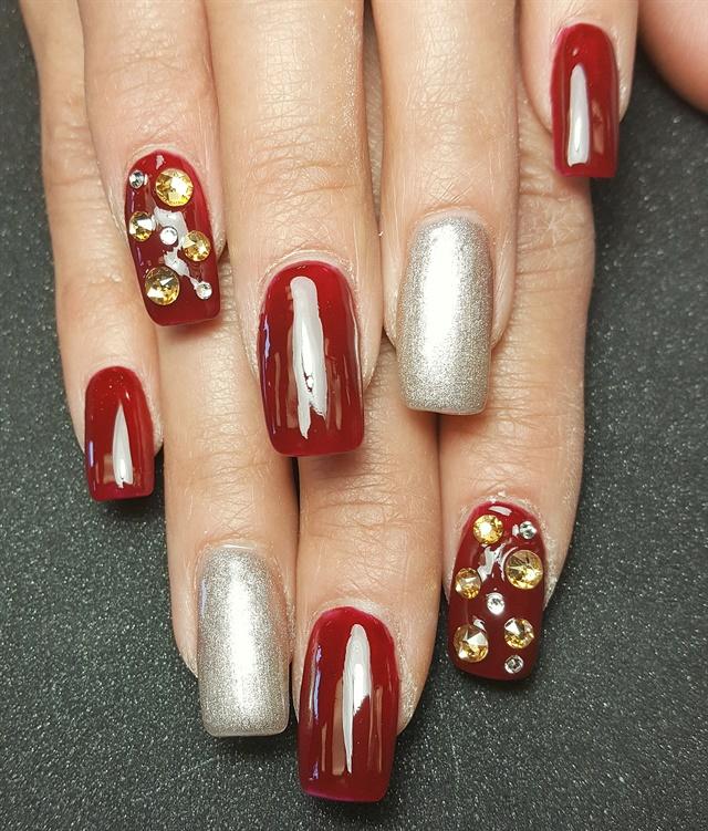 Day 46: Red & Gold Nail Art - - NAILS Magazine