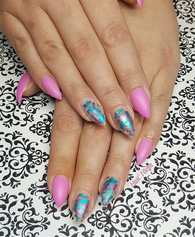 Day 74 Pink And Green Foil Nail Art Nails Magazine