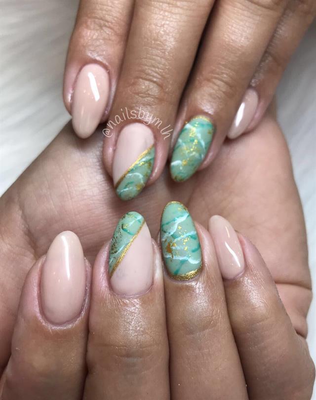 Melissa Robillard, The Nail Studio, Coconut Creek, Fla. Keywords: matte  nail art - Day 77: Green & Matte Nail Art - - NAILS Magazine