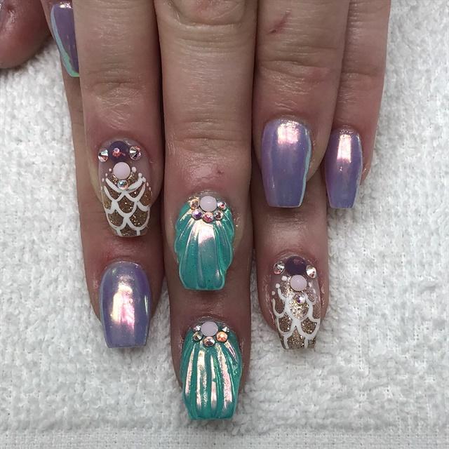 Day 98: Mermaid and Jewels Nail Art - - NAILS Magazine