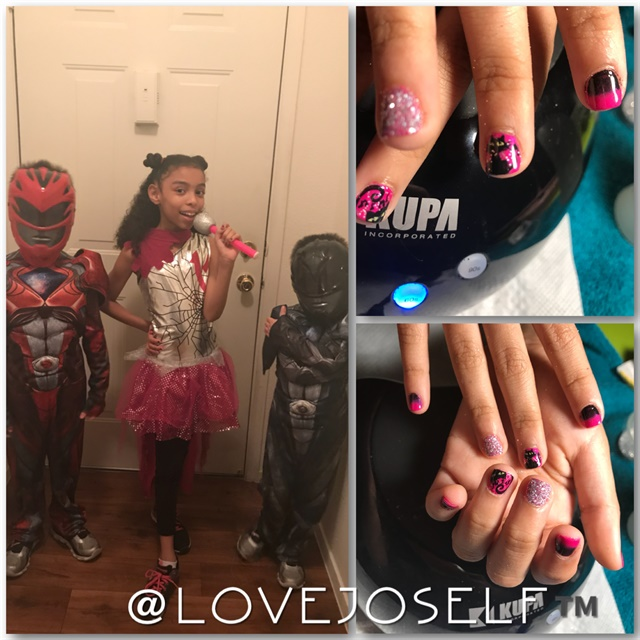 <p>I painted my daughter's nails to match her costume on Halloween.</p>