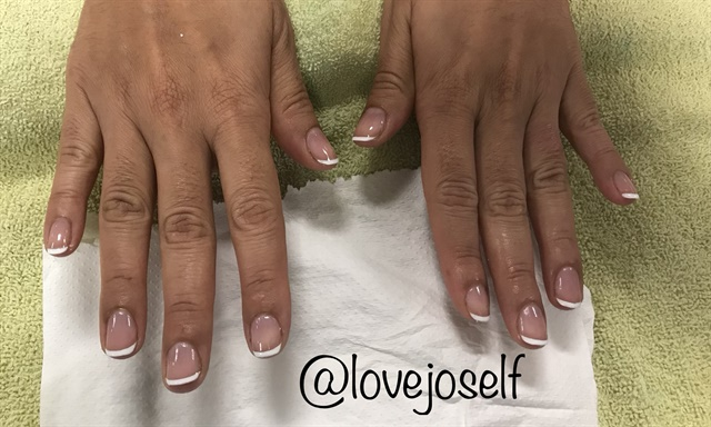 <p>Here, I did a quick french manicure!</p>