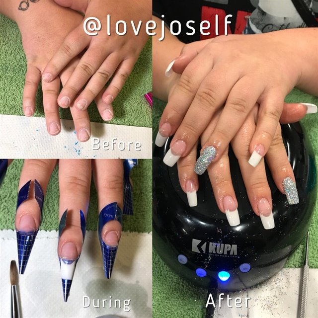 <p>This client was a nail biter, but I still gave her beautiful acrylics.</p>