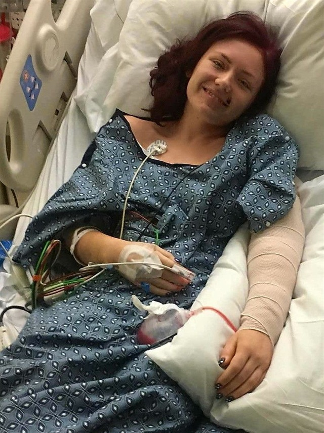 """<p>Barr survived a gun shot wound in her arm after her father attempted to shield her from the bullets. <a href=""""https://www.gofundme.com/pu996-taylor-barr-recovery-fund"""">Images via GoFundMe. </a></p>"""