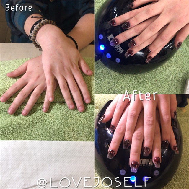 <p>This client bites her nails. We're hoping these acrylics will motivate her to kick the habit.</p>