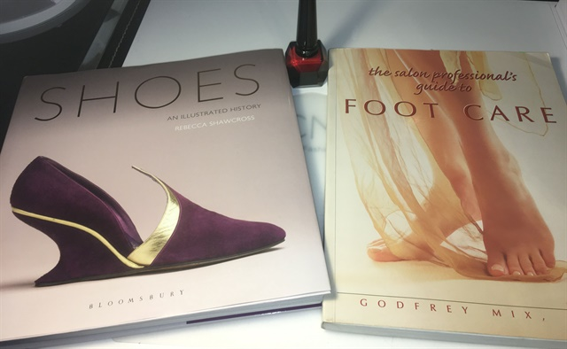 "Books mentioned in the broadcast as resources: ""Shoes an Illustrated history"" by Rebecca Shawcross and ""The Salon Professional's Guide to Foot Care"" by Godfrey Mix, DPM."