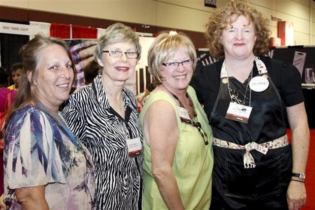 <p>(Left to right) Nail techs Debbie Doerrlamm, Janet McCormick, Vicki Peters, and NAILS' Cyndy Drummey smile for the camera at the Orlando NailTech Networking Event in 2007.</p>