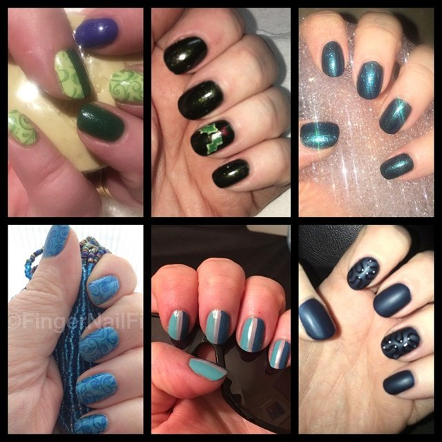 <p>My polish history tends to be full of black, blue, green and combinations of the three.</p>