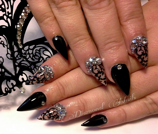 Day 194: Blingy Blue & Black Nail Art - - NAILS Magazine