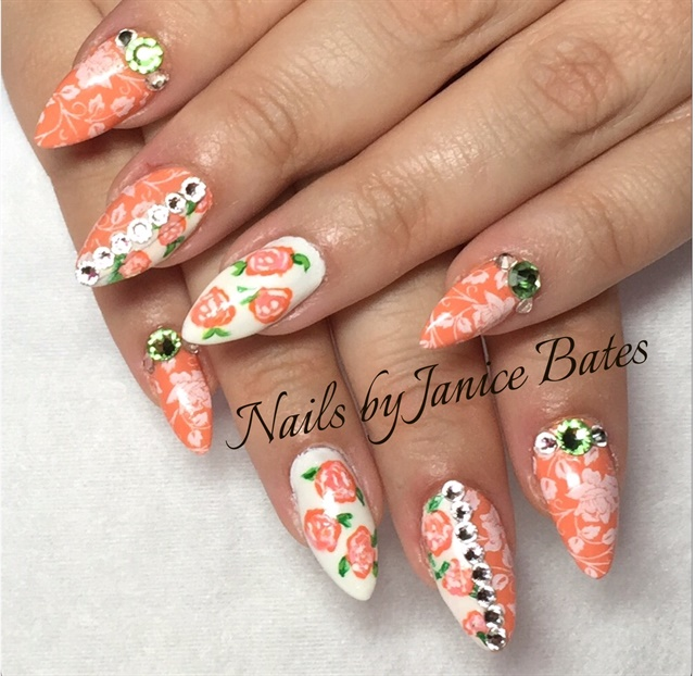 Day 223: Orange & White Floral Nail Art