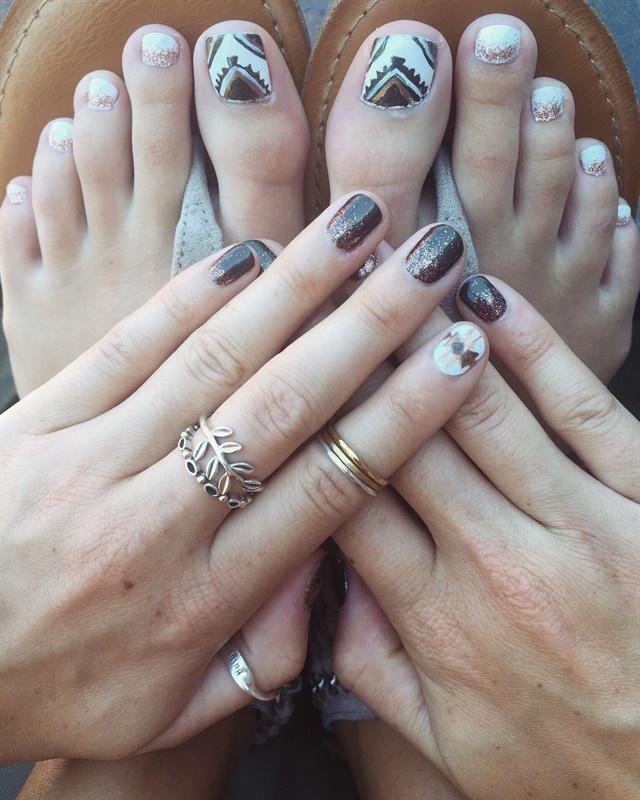 Maddie Williams, Village Hair and Spa, Sioux Falls, S.D.. Keywords: nail art  toenail art tribal ... - Day 239: Brown Tribal Nail Art - - NAILS Magazine