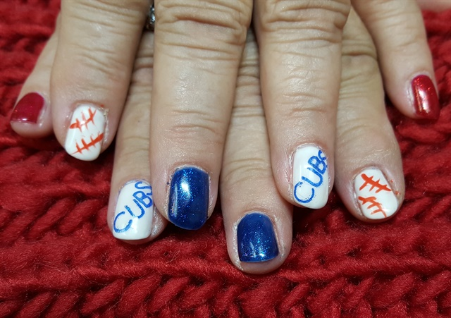 ad93eab0895 Day 307  Chicago Cubs Nail Art - - NAILS Magazine