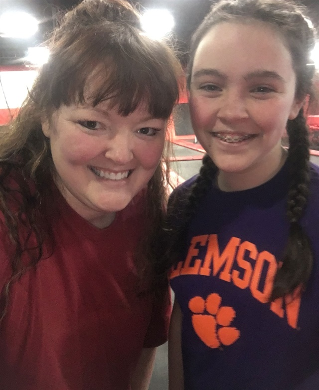 <p>My niece and I at the trampoline park.</p>