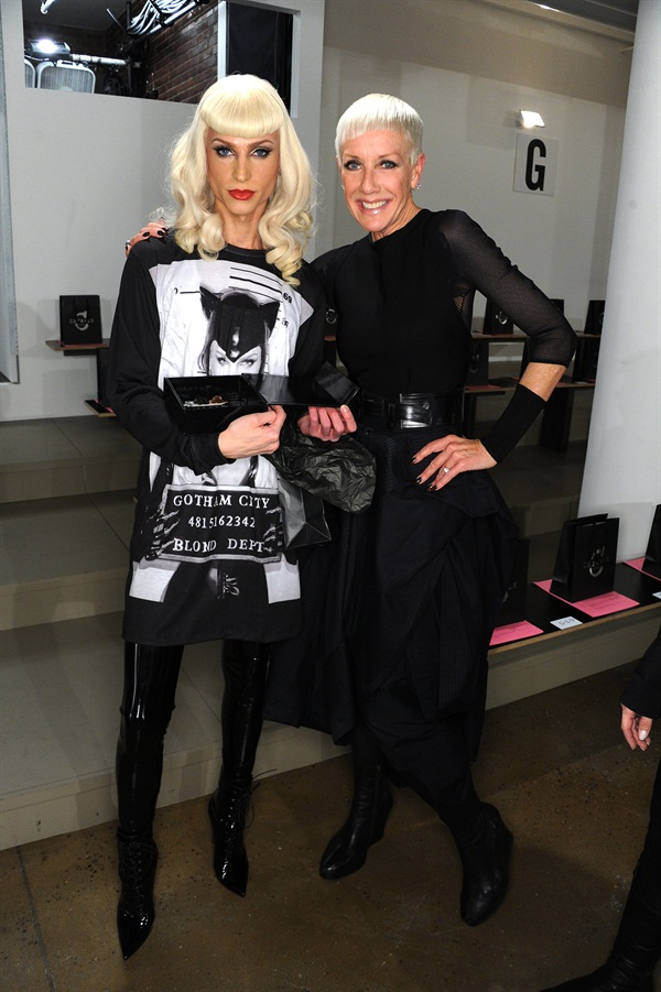 <p>Phillipe Blond of The Blonds and CND's Jan Arnold backstage at the Fall/Winter 2004 sshow at NYFW.</p>