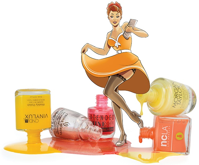 <p>From left to right: <strong>CND Vinylux </strong>Banana Clips, <strong>China Glaze</strong> Sun's Out, Buns Out, <strong>Gel II Extended Shine</strong> Sultry Sunset, <strong>Morgan Taylor</strong> Days in the Sun, and <strong>NCLA</strong> 24 Carrots</p>