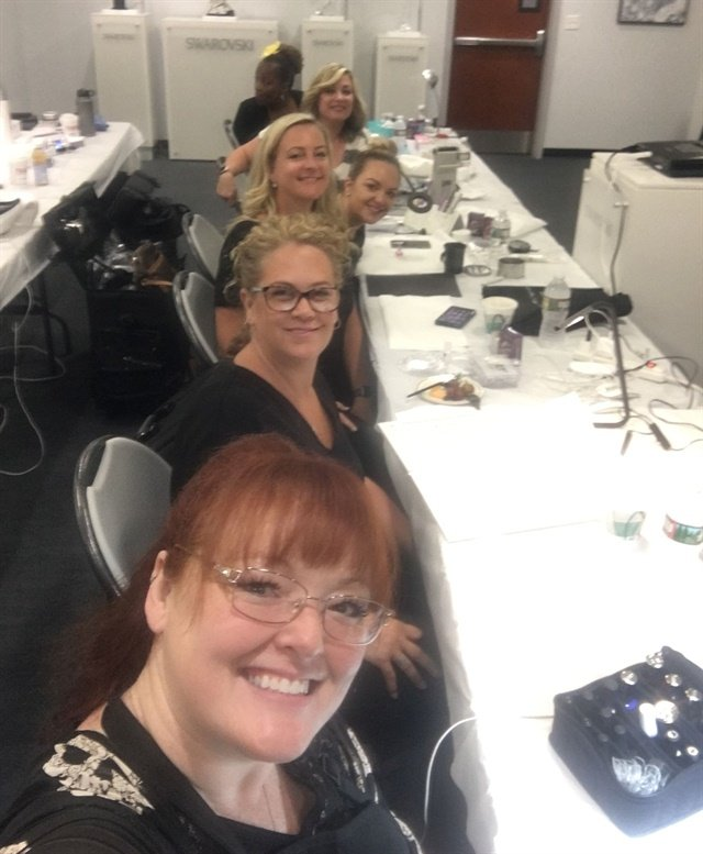 <p>Front-row selfie full of nail geeks at the Swarovski training.</p>