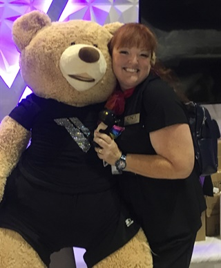 When you leave your giant teddy bear unattended, expect him to get stolen hugs!