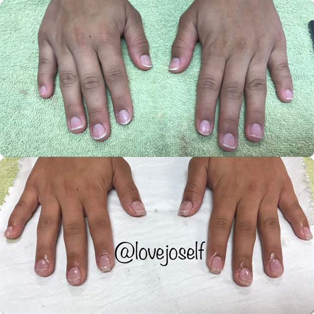 <p>Before and after of my sculpted, short full set. </p>