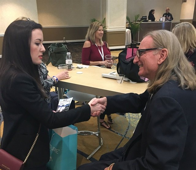 Networking at its best: The Nail Hub's Elizabeth Morris negotiated with Doug Schoon for a podcast interview.