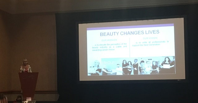 <p>BCL president Lynelle Lynch speaking at Cosmoprof North America</p>