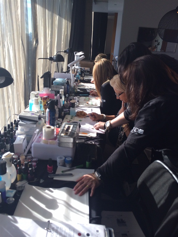 <p>Another behind-the-scenes shot from the CND Design Lab, where CND Education Ambassadors concept and create nail art exclusively for TheBlonds NYFW runway show.</p>