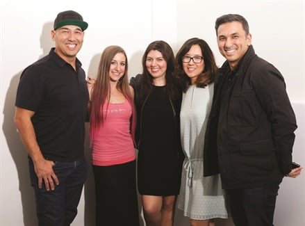 Left to right: Cover tech Greg Salo,  model Ciara Pisa, NAILS executive editor Beth Livesay, NAILS art director Yuiko Sugino, Young Nails CEO Habib Salo