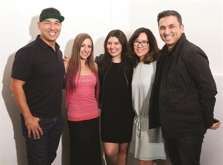 <p><strong>Left to right:</strong> Cover tech Greg Salo, model Ciara Pisa, NAILS executive editor Beth Livesay, NAILS art director Yuiko Sugino, Young Nails CEO Habib Salo</p>
