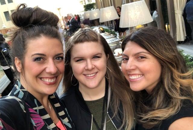 <p>Lauren Wireman of Wildflowers Nails, Sarah Waite of Chalkbaord Nails, and NAILS executive editor Beth Livesay</p>