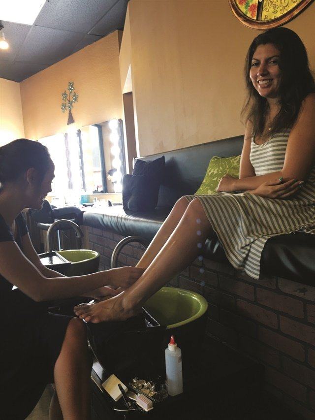 That's me (right) getting a gel-polish pedicure with Bio Seaweed Gel Cyclone.