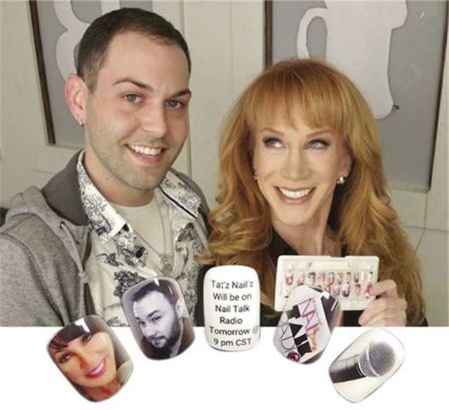Buddy Sims poses with Kathy Griffin, who is holding her custom nail tips.