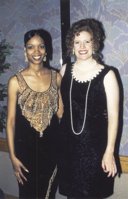<p>April Buford (left) with NAILS publisher Cyndy Drummey at the first NAILS Salon of the Year Awards in 1996,</p>