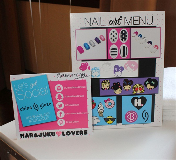 <p>China Glaze displays their adorable nail art menu at the Beautycon x Harajuku Lovers High Tea.</p>