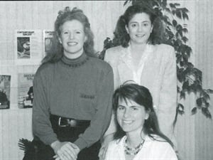 The editorial crew in 1990 (from left) me, Suzette Hill, and (seated) Annie Gorton. Back then I wore my nails long